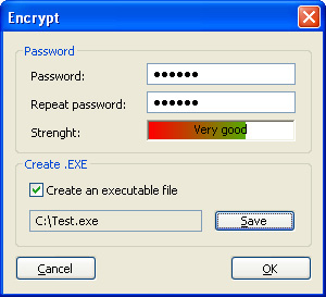 Picture of the window to set a password for the password image.