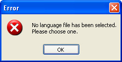 Picture of the error message box caused by no language being selected.