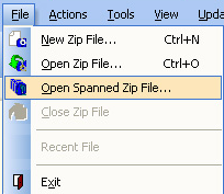 Picture of the Actions menu with the menu item Export to Self-Extracting Zip File selected.