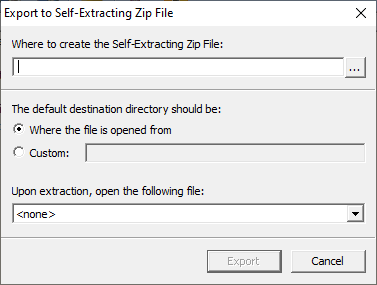 Picture of the Self Extracting Zip File options window.
